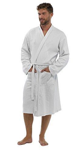 Strong Souls Hommes Uni 100% Coton gaufré Peignoir Robe de chambre Avec ceinture robe de chambre Pour taille UK S - XL - Homme, Blanc, L/XL