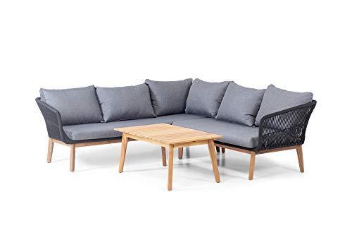 HOMEXPERTS COMFY Garten-Lounge-Set, schwarz, anthrazit, akazie