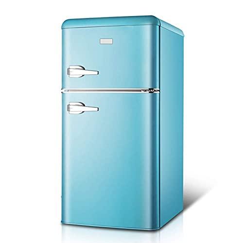SHKUU Congelador Independiente con manija Refrigerador Doble Puerta Control Temperatura 74L Capacidad 44L Capacidad del congelador con Caja enfriadora 90cm