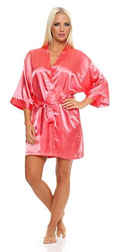 AE Damen Morgenmantel kurzer Kimono aus Satin-Optik in 23 Farben Bademantel Nachtwäsche Nachtmantel Seidenrobe Gr. S-2XL Koralle S