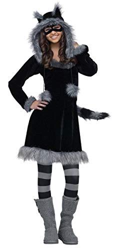 shoperama 5-TLG. Waschbär-Kostüm Teens 164-176 Damen32-38 Kleid Kapuze Maske Schwanz Strumpfhose Fell Tier