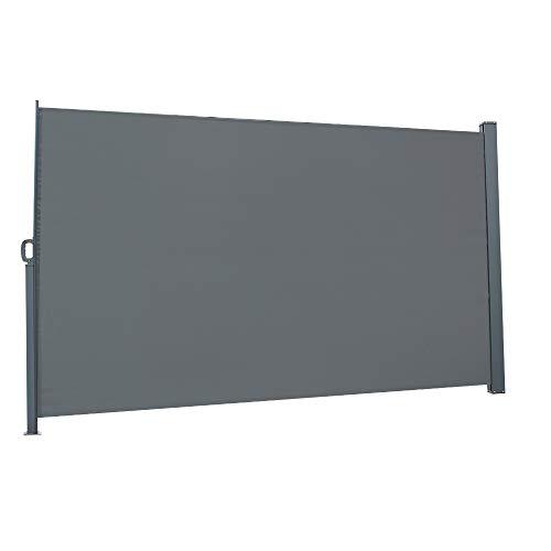 FCH Seitenmarkise, 160 x 300 cm (H x L), Sichtschutz, Sonnenschutz, Seitenrollo, für Balkon, Terrasse, Garten, (160 x 300 cm, Dunkelgrau)