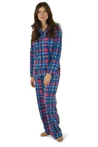 Totally Pink Women's Warm and Cozy Plush Fleece Winter Two Piece Pajama Set Teen and Girls (Small, Blue Plaid)