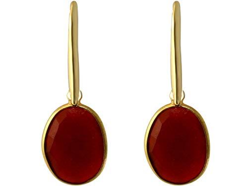 Gemshine Damen Ohrringe mit Ovalen orangenen Karneol Edelsteinen. 925 Silber oder hochwertig vergoldet - Nachhaltiger, qualitätsvoller Schmuck Made in Spain, Metall Farbe:Silber vergoldet