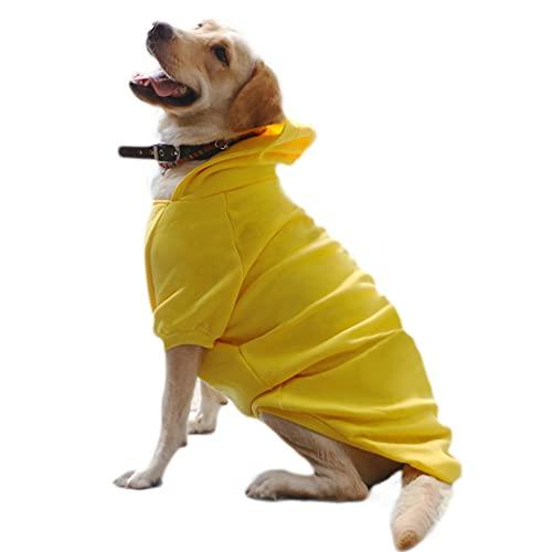 Eastlion Hunde Warm Hoodies Mantel Kleidung Pullover Haustier Welpen T-Shirt Dog Coat Gelb 6XL