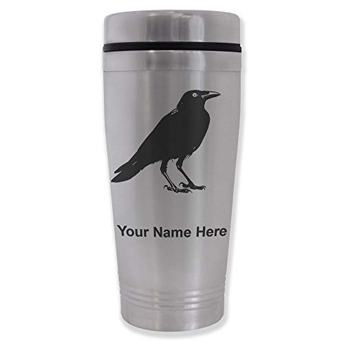 Commuter Travel Mug, Crow, Personalized Engraving Included