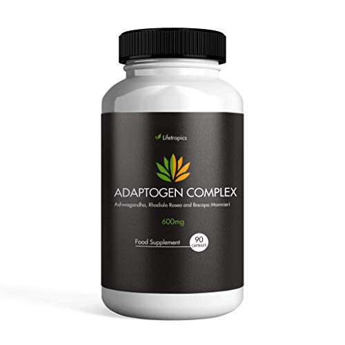 Lifetropics Adaptogen Complex | Plant-Based Supplement | Contains Ashwagandha, Rhodiola Rosea, Bacopa Monnieri | Rich in Withanolides, Salidrosides, Rosavins, Bacosides | 90 Vegecaps