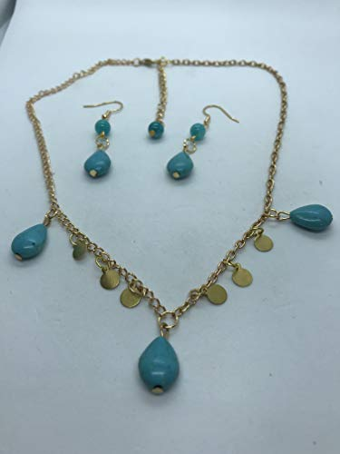 Blue jade necklace and earring set by Susan Craker