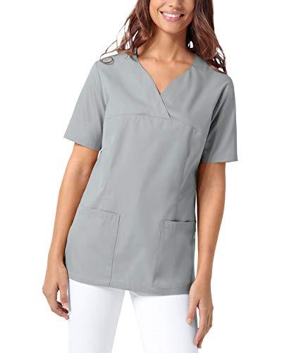 CLINIC DRESS Schlupfkasack Damen Kasack für die Pflege 1/2 Arm Regular Fit 50% Baumwolle 95 Grad Wäsche grau L
