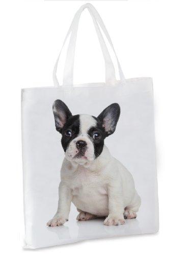 Einkaufstasche/Tragetasche/Shopper/mit Henkeln - 38x42cm - Motiv: Französische Bulldogge...