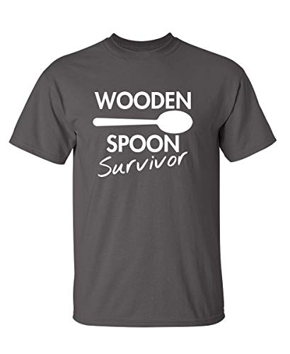 Wooden Spoon Survivor Graphic Novelty Sarcastic Funny T Shirt XL Charcoal