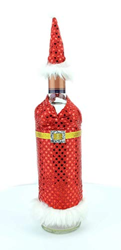 Shatchi 6174-CHRISTMAS-BOTTLE-COVER-WOMEN-1PK Kerstmis Wijnfles Cover Gift Tassen Lady Santa Xmas Party Home Bar Restaurants Pub Décor Tafel Decoraties, Rood/Wit