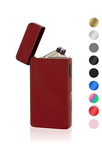 TESLA Lighter TESLA Lighter T13 Lichtbogen Feuerzeug, Plasma Double-Arc, elektronisch wiederaufladbar, aufladbar mit Strom per USB, ohne Gas und Benzin, mit Ladekabel, in Edler Geschenkverpackung, Magmarot Rot