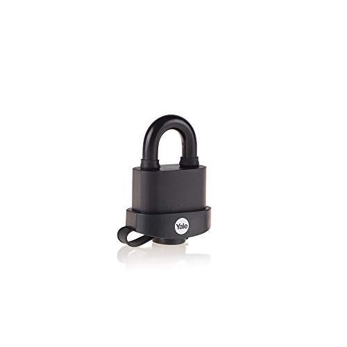 Yale Y220B/51/118/1 Black Weatherproof Padlock with Protective Cover (51 mm) - Outdoor Hardened Steel Shackle Lock for Shed, Gate, Chain - 3 Keys - High Security