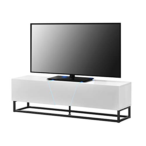 [en.casa] LED - TV meubel met afstandsbediening - wit