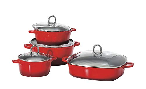 KHG Topfset Induktion 4-teilig Rot Aluminium-Guss Topf- und Pfannenset Induktionsfähig