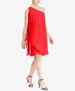 RALPH LAUREN Womens Red Ruffled Sleeveless Asymmetrical Neckline Above The Knee Shift Dress US Size: 16
