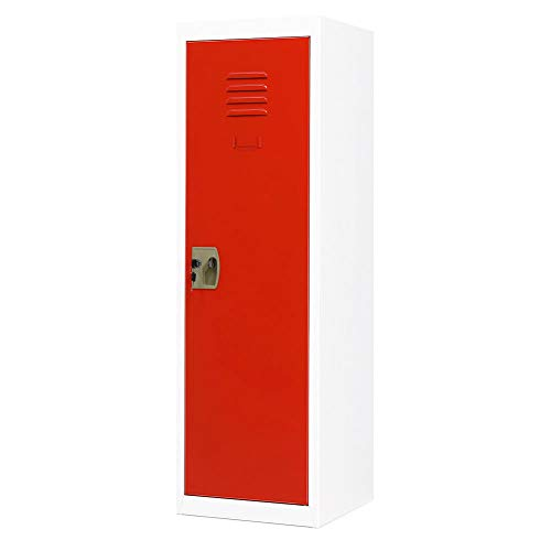 INVIE Kids Steel Storage Locker 3 Tier Steel Locker, Metal Cabinet with Key and Lock, Kids Toy Safe Storage for Home and School (Red Door)