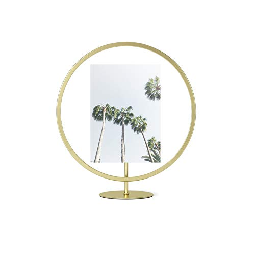 Umbra Infinity Round 5x7 Picture Frame, Floating Photo Display for Desk or Wall, 5 x 7, Brass