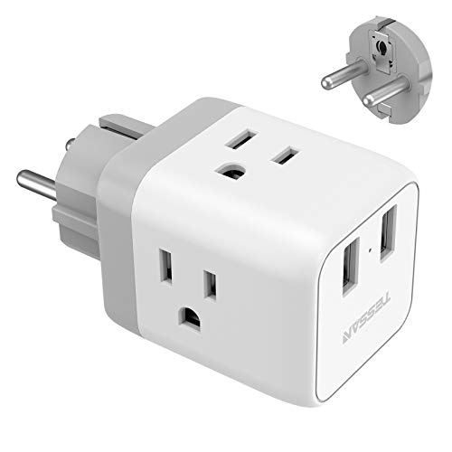 Schuko European Travel Plug Adapter, TESSAN France Germany Power Adapter with 2 USB 3 American Outlets, Type E/F Plug Adapter for US to Europe German Frence Iceland Spain Russia Poland EU