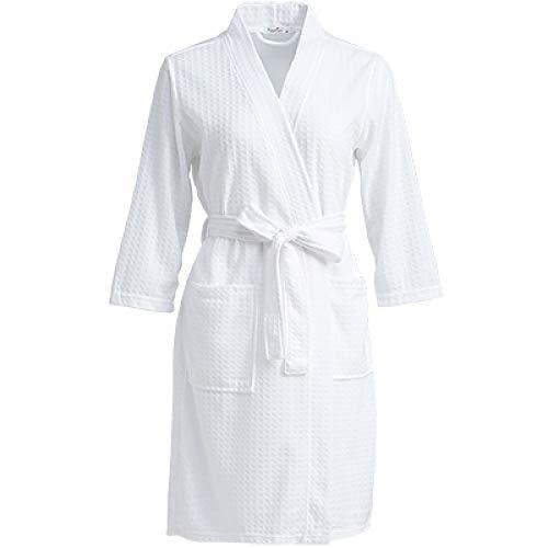 YRTHOR Amantes Toalla Bata Elegante, Hombres Mujeres Kimono Waffle Albornoz Ropa de Dormir Masculina Bata para Hombre Badjas Batas de Dama de Honor de Boda,Blanco,XL