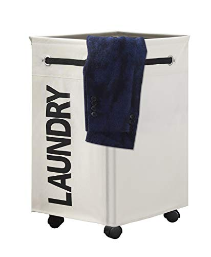 """HOMEAMY 23"""" Wheeled Laundry Hamper Large Collapsible with Breathable Cover Heavy Duty Laundry Sorter Dirty Clothes Organizer Bin Waterproof Foldable Laundry Basket Rolling Extra Large Bag (White)"""