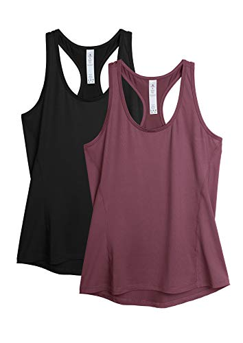 icyzone Damen 2-Pack Sport Tank Top Racerback Yoga Oberteile Fitness Gym Shirts (M, Schwarz/Dunkelrot)