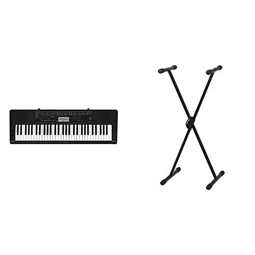 Casio CTK-3500- Teclado Digital, 61 Teclas sensibles, Estilo Piano, Negro + Pure GEWA F900520Soporte de Teclado, Patas Perfil Simple,Negro