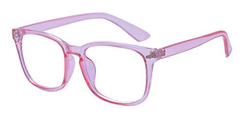 Outray Gafas unisex de bloqueo de luz azul Gafas de gran tamaño sin receta Gafas redondas de lentes transparentes Lentes Rosa