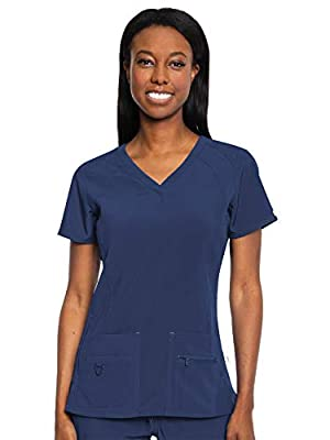 Med Couture Activate Women's V-Neck Racerback Scrub Top, Navy, Small