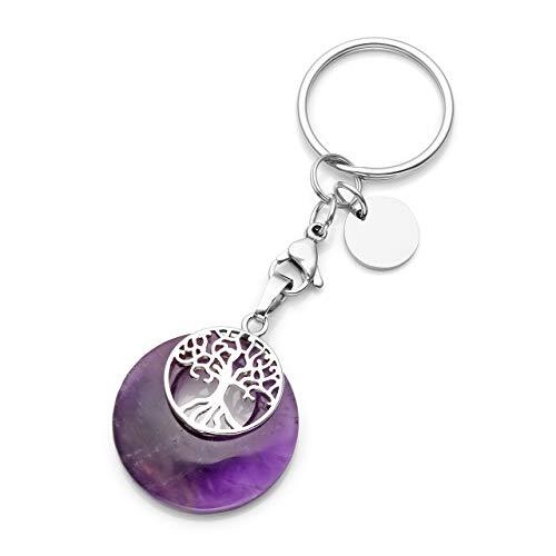 Jsdde - Portachiavi con pietra preziosa naturale, con albero della vita, ciondolo per tasca, chakra, yoga, energia curativa, grigio (Viola) - GGDE01203
