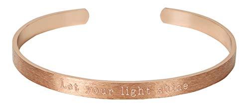 Armreif - Armreif mit Botschaft - Let your light shine: (rosévergoldet)