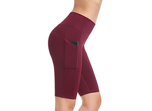 QING HONG - Pantalones cortos deportivos para mujer, ligeros, para ciclismo, danza, 1/2 rodilla, para correr, Mujer, color rosso, tamaño S
