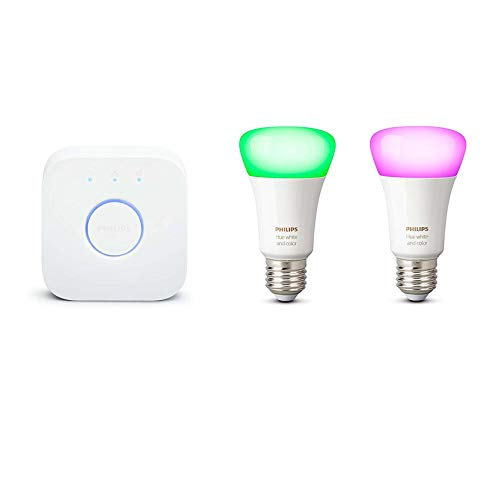 Philips Hue White and Color Ambiance Pack de 2 Bombillas LED Inteligentes E27 y Puente, Luz Blanca y de Colores, Compatible con Bluetooth y Zigbee, Funciona con Alexa y Google Home