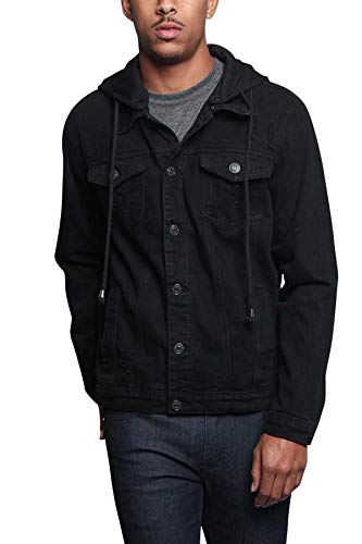 Victorious Men's Casual Layered Ripped Distressed Denim Jean Jacket DK135 - Black - Medium - JJ7C