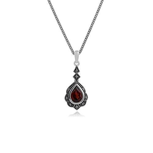 Gemondo Markasit Halskette, Sterling Silber Granat & Markasit Art Nouveau Anhänger an Kette 45cm