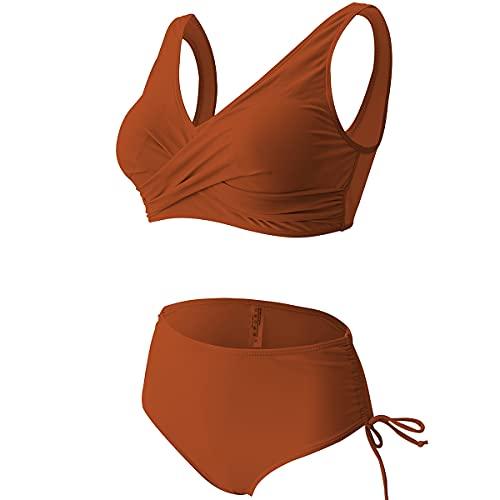 Jeatyuen Trajes de baño deportivos para mujer de dos piezas de corte alto conjunto de bikini de cintura alta, anaranjado, (05 Orange), XX-Large