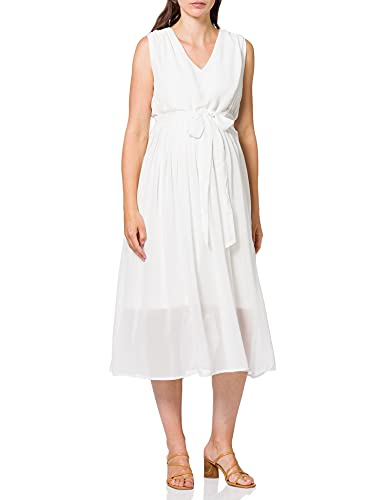 Mamalicious MLGARBO Mary S/L Woven MIDI Dress 2F A. Robe, Blanche-Neige, M Femme