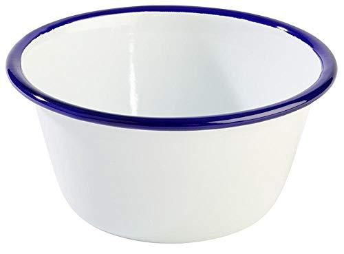 APS 40638 ENAMELWARE Metall Schüssel weiß / Blau, Ø 13 x 6 cm 0.50 ltr.