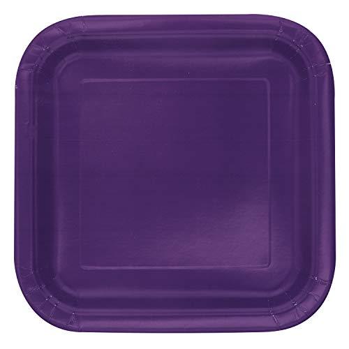 Unique Party - 33054 - Paquet de 14 Assiettes en Carton - 23 cm - Violet Intense