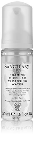Sanctuary Spa Foaming Micellar Water, Vegan Face Wash, Make Up Remover with Rose Water and Argan Oil, 100 Percent Natural Fragrance, 50 ml