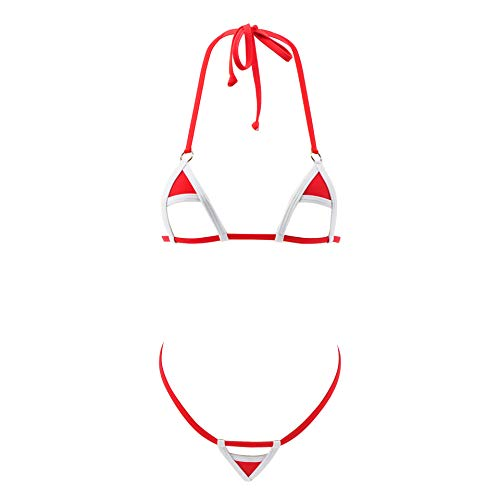 SHERRYLO 2018 New Various Style Micro Bikini Set Exotic Bademode Damen Swimsuit for Women (Redwhite)