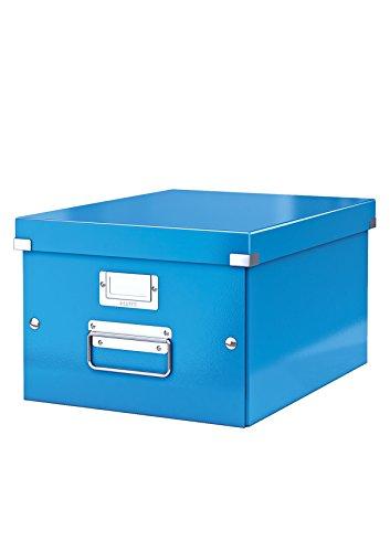 Leitz, Mittelgroße Aufbewahrungs- und Transportbox, Blau, Mit Deckel, Für A4, Click & Store, 60440036