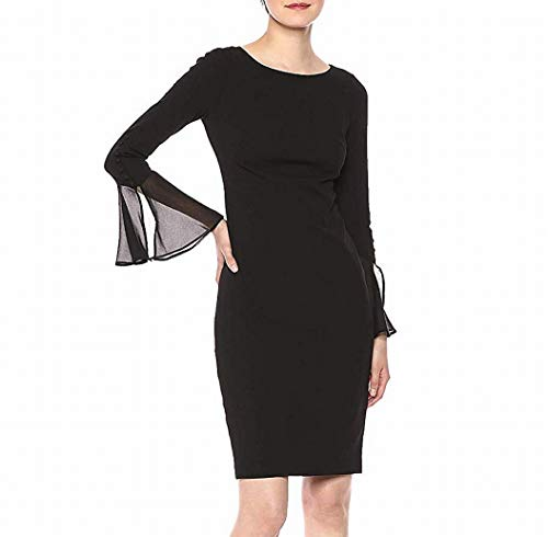 Calvin Klein Women's Solid Sheath with Chiffon Bell Sleeves Dress, Black 2, 10 (Apparel)