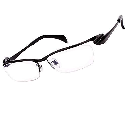 Agstum Luxury Titanium Semi Rimless Business Glasses Frame Eyeglasses Clear Lens (Ag1153-Black)