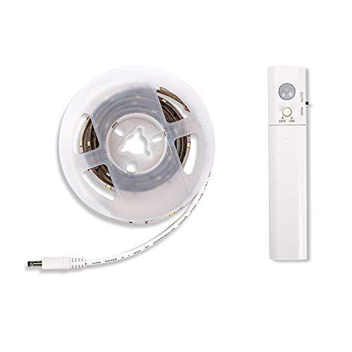 Bande LED bande LED bande lumineuse LED avec détecteur de mouvement, fonctionne sur piles pour lit d'enfant, armoire, tiroir, escalier, chambre à coucher, salon, cuisine, 1 m, 30 LED (blanc chaud, 1 m)