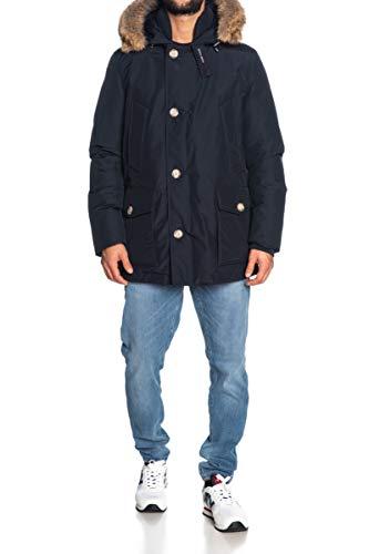 Woolrich Giubbotto Blu con Cappuccio con Pelliccia Artic Anork, XL, Blu