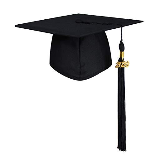 GraduationMall Doktorhut Studentenhut Erwachsene Abschluss Hut 2020 Jahreszahl Anhänger Quaste für die Abschlussfeier der High School Bachelor Universität Hochschule Graduation Cap Schwarz