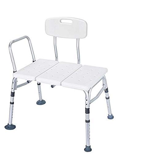 HEALTHLINE Tub Transfer Bench, Lightweight Medical Bath and Shower Chair with Back, Non-Slip Seat, Transfer Bench for Elderly and Disabled, Medical Bath Shower Chair, Adjustable Height, White
