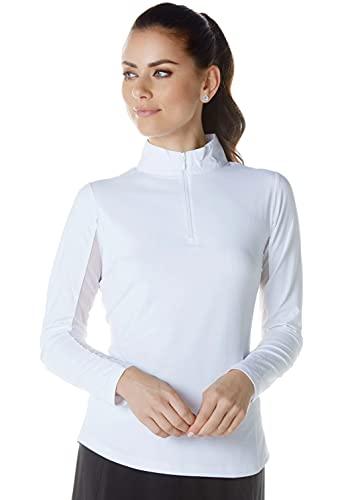 IBKUL Damen Sonnenschutz-Top, LSF 50+, kühlend, langärmlig, Mock-Neck, 80000, weiß, solide, XL